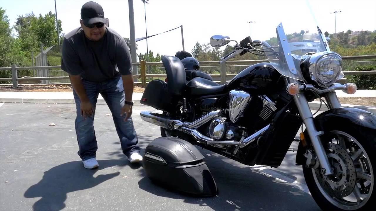 hight resolution of 2009 yamaha v star 1300 lamellar motorcycle hard saddlebags review vikingbags com youtube