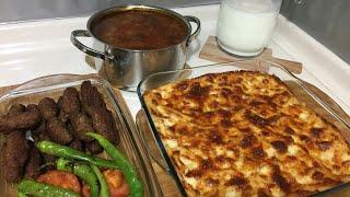 İnegöl Köfte İle Akşam Yemeği Menüsü/Fırın Makarna/Şehriyeli Yeşil Mercimek Çorbası/Seval Mutfakta