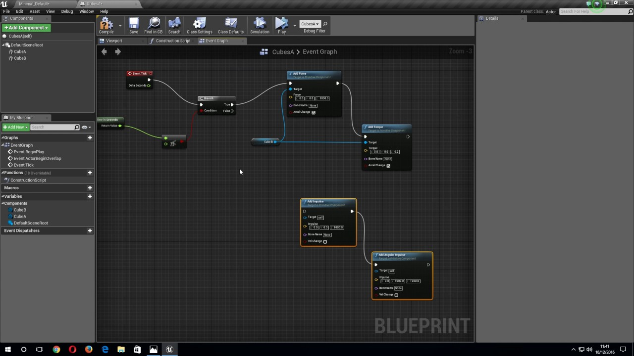 UE4 Physics: Impulse and Force