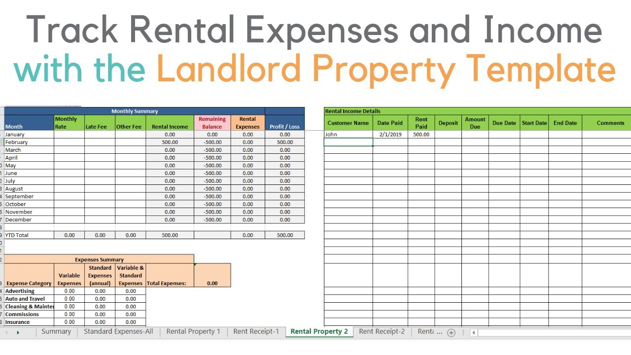 rental property excel spreadsheet  Landlord template demo, Track rental property in excel - YouTube