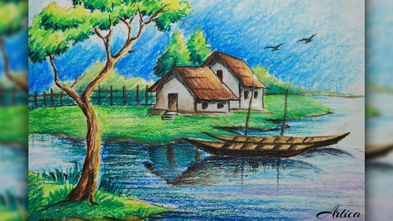 How to draw a village landscape with oil pastel oil pastel painting