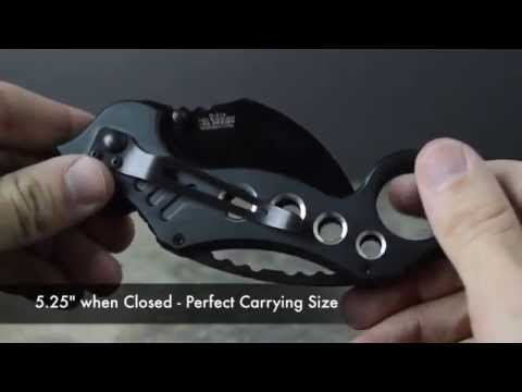 TAC FORCE Grey Karambit Speedster Spring Assist Knife Review Unboxing TF-578GY