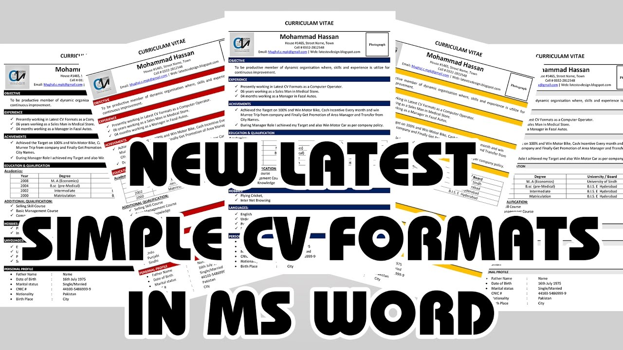 New Latest Cv Formats Templates Curriculum Vitae Format Template Word Online C