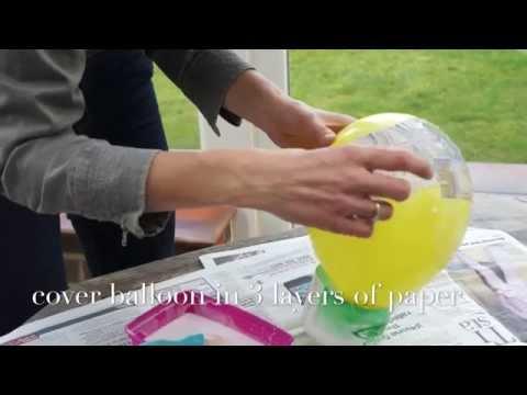 DIY paper mache balloon with PVA Glue and fabric decoupage