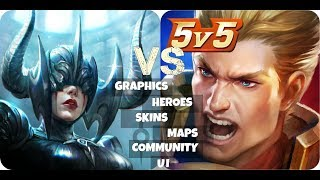Vainglory VS Arena Of Valor | Graphics , Heroes , Skins , Maps , Community , UI | AOV Versus V