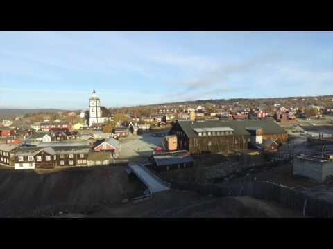 A day in UNESCO´S World Heritage town Røros Norway - seen from a drone