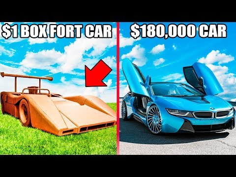 1$ BOX FORT CAR Vs $180,000 CAR!! You Won't Believe Who Won!