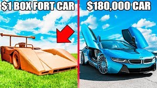 1$ BOX FORT CAR Vs $180,000 CAR!! 📦🚗You Won't Believe Who Won!