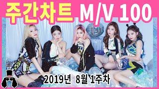 [주간차트 8월 1주차] 금주의 KPOP 아이돌 뮤직비디오 순위 100 - 2019년 8월 4일 | 와빠TV