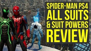 Spider Man PS4 All Suits & Suit Powers In The Game REVIEW (Spiderman PS4 Suits)