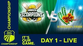 🔴LIVE Jamaica vs Barbados - Day 1 | West Indies Championship | Thursday 23rd January 2020