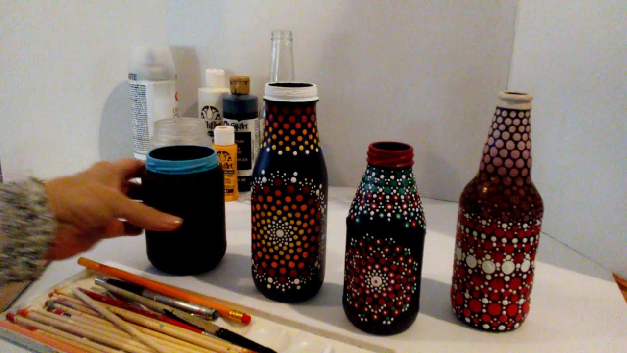 Mandala Dot Art Painting Recycled Bottles Jars