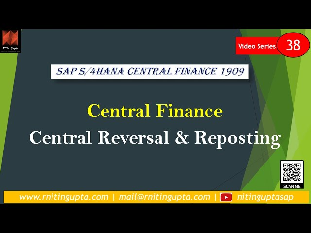 Central Reversal & Re-posting in SAP Central Finance