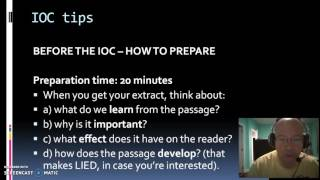 IB English A: The IOC - how to prepare well