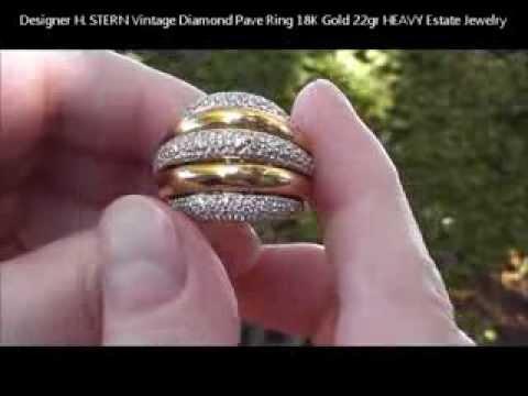 designer h stern vintage diamond pave ring 18k gold 22gr