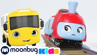 Buster And The Sleepy Train | Buster The Bus | Trains for Children | Train Song | Moonbug for Kids