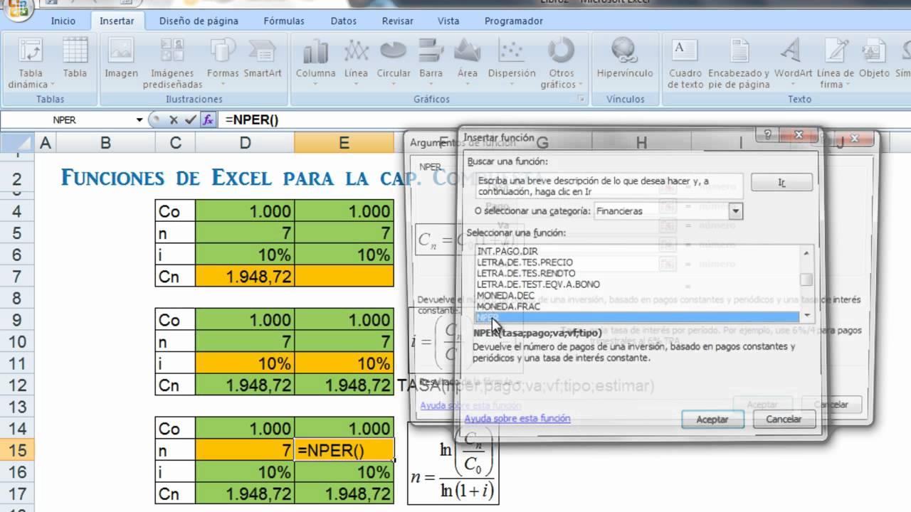Funciones de Excel para la Capitalización Compuesta - YouTube