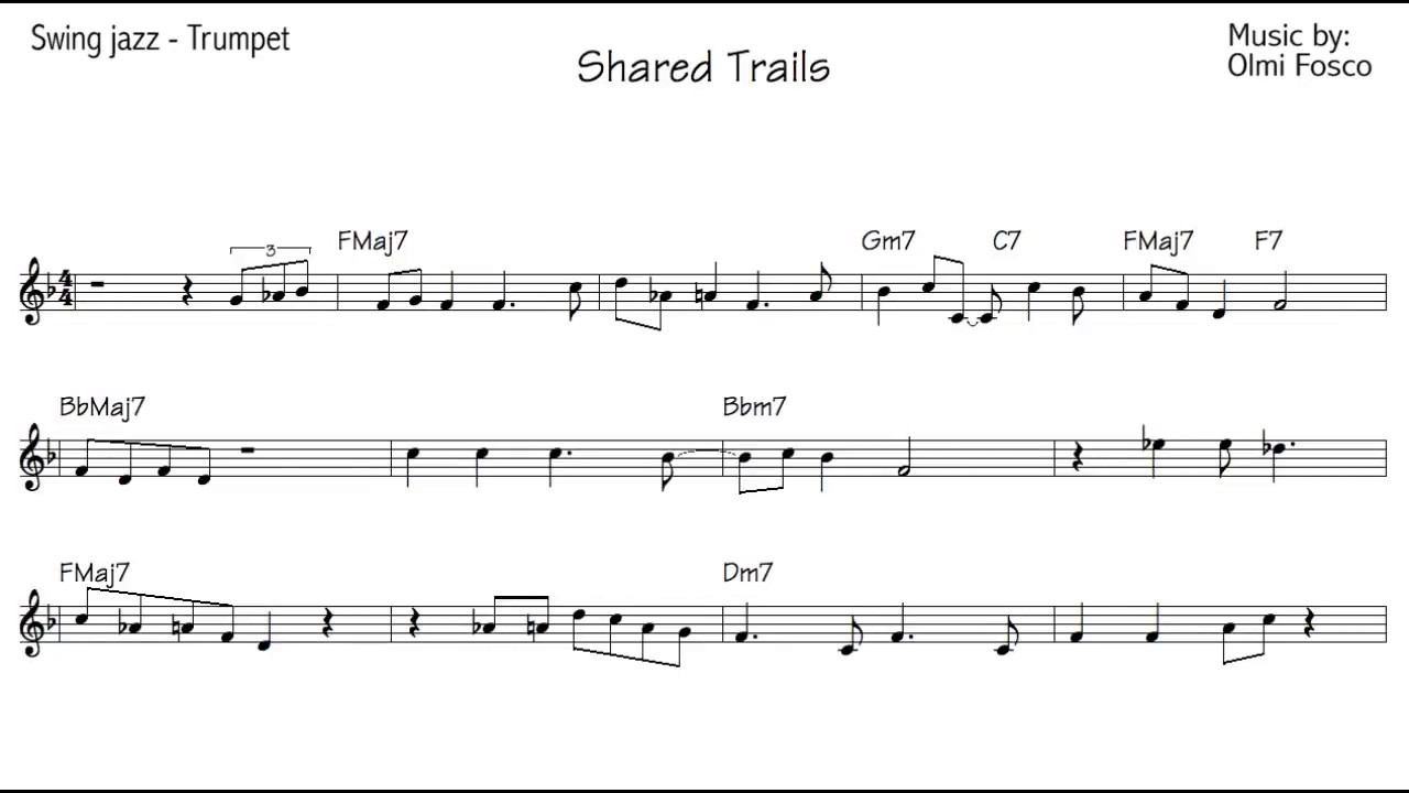Trumpet jazz Improvisation lesson - Beginner Level - `Bossanova to Sahara`  score by olmifosco