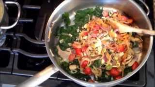 Pasta With Fresh Spinach Mushrooms Basil Red Onion