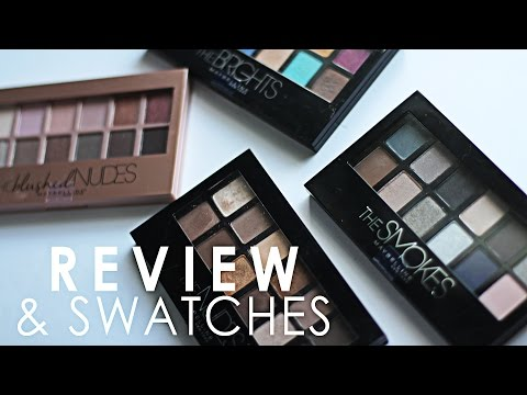 Review and Swatches of Maybelline The Blushed Nudes, The Brights, The Smokes and The Nudes!