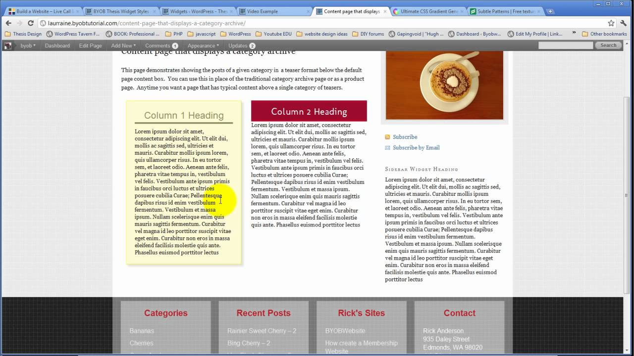 thesis style widgets Thesis theme owners you can become a hobbyist programmer, scour the thesis forums and watch tutorial videos style your widgets.