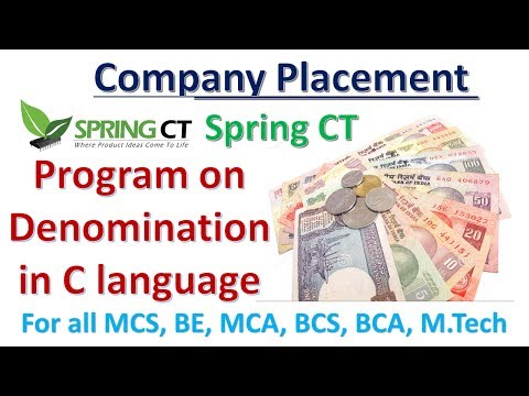 Campus Placement Preparation | Program for displaying the Denominations of an Amount  in C