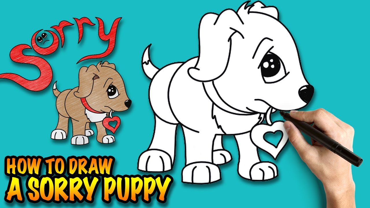 How to draw a Cute Puppy Saying Sorry - Easy step-by-step drawing tutorial
