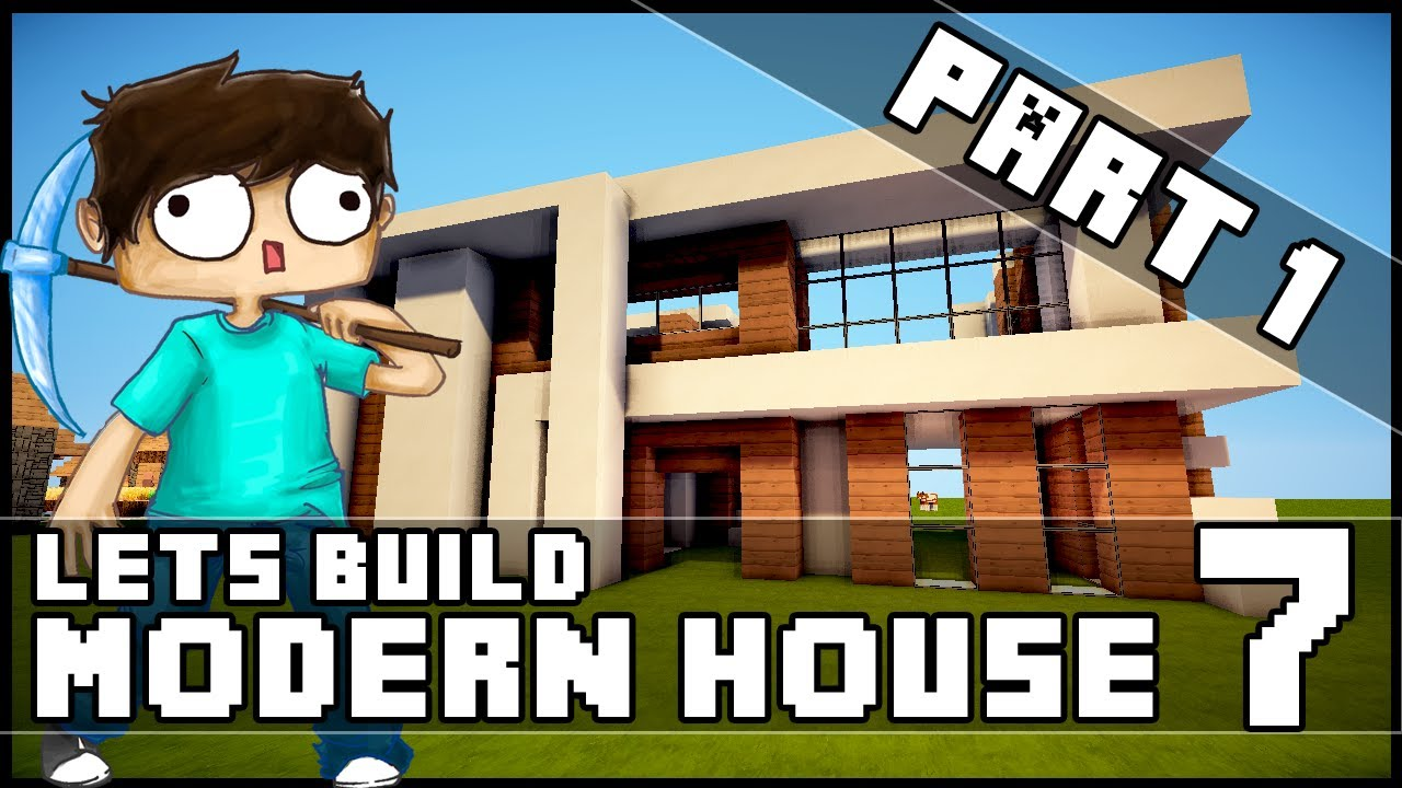 minecraft lets build modern house 7 part 1 youtube
