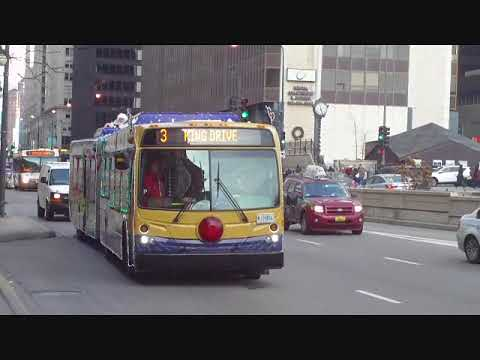CTA Santa's Holiday bus in Downtown Chicago on #3 King Drive route