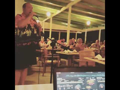UK In Barbados Singing karaoke at Butterfly Beach hotel (steve)