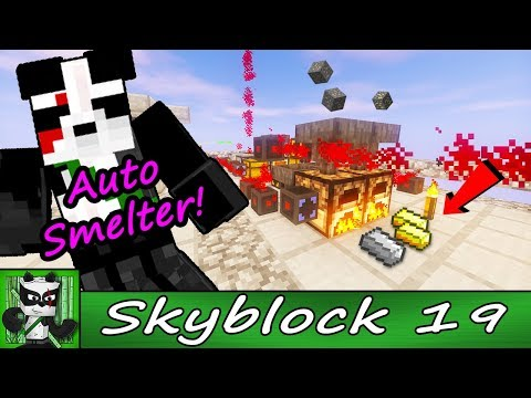 AUTO Smelter! Easy Automatic Iron and Gold Smelting System - PandaCraft Skyblock - Episode 19