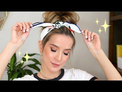SCARF & MESSY BUN HAIR TUTORIAL + SOFT GLAM MAKEUP | LeighAnnSays