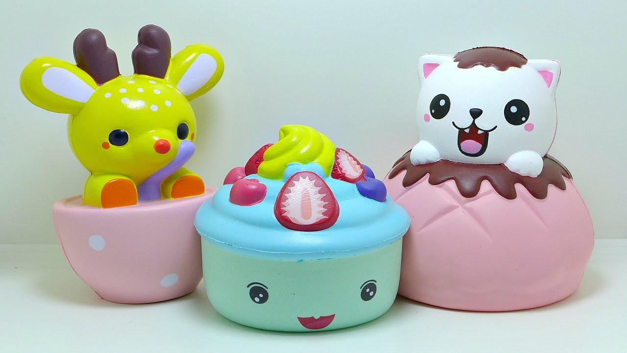 Squishy Lei Lei : Lei Lei Jumbo Puff Cat Cupcake Teacup Deer Squishy - YouTube