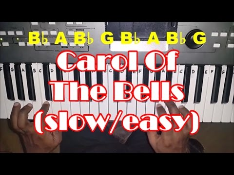 Carol of the Bells SLOW Easy Piano Tutorial - How To Play - Christmas Song