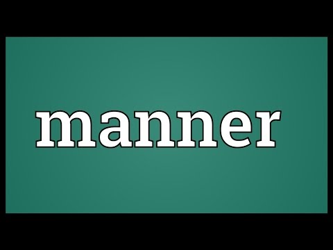 Manner Meaning