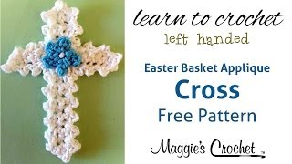Easter Cross Applique Free Crochet Pattern - Left Handed