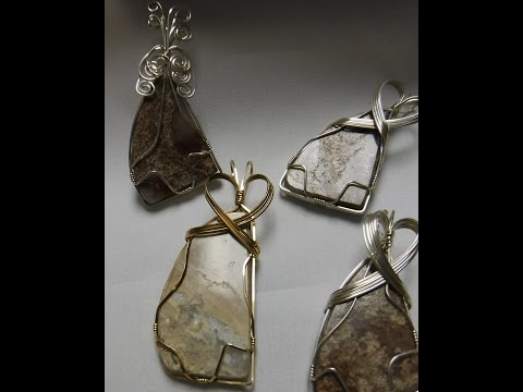 Sterling Silver wire wrap stone pendant tutorial