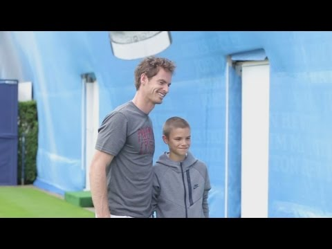 David Beckham's son Romeo plays tennis with Andy Murray