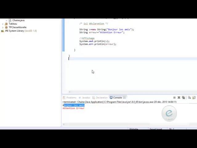 Java : String Déclaration et affichage