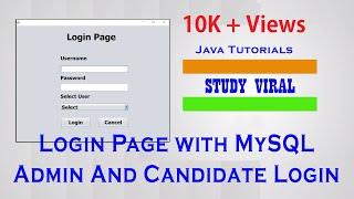Java Swing Multi-User Login in Netbeans and MySQL Database - StudyViral