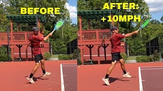 MASSIVE POWER INCREASE on your FOREHAND with this quick fix! Learn to hit your forehand harder