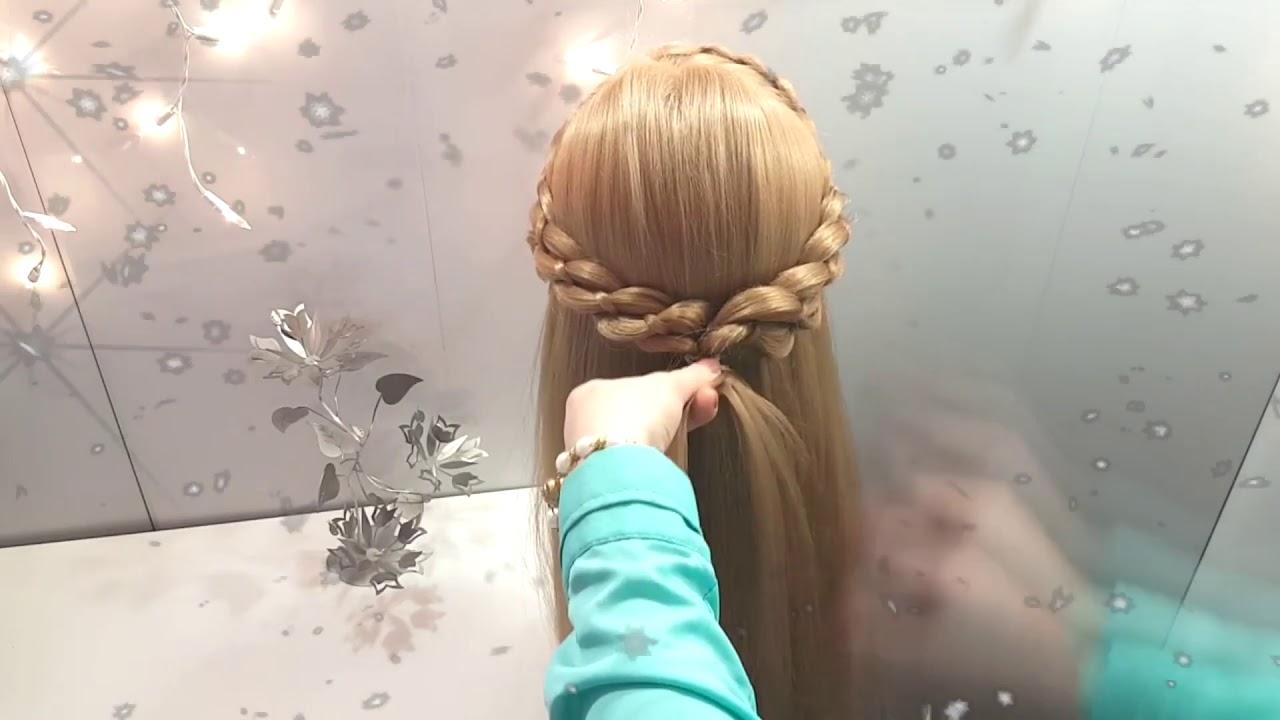Прическа на новый год красивые косы Прически на длинные средние волосы косички 5 ти прядные плетения