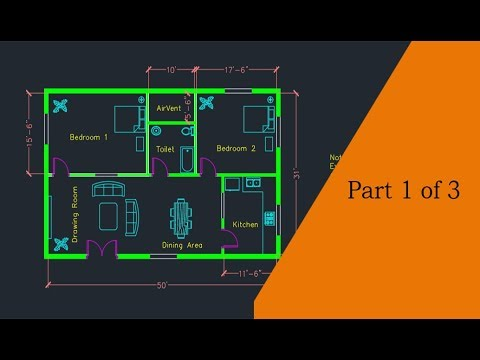 Making a simple floor plan in AutoCAD: Part 1 of 3 - YouTube on autocad 3d design, solidworks house design, japanese tea house design, house structure design, 2d house design, building structure design, art house design, fab house design, box structure design, support structure design, technical drawing and design, business house design, top house design, cnc house design, radiant heating installation and design, architecture house design, engineering house design, classic house design, manufacturing house design, google sketchup house design,