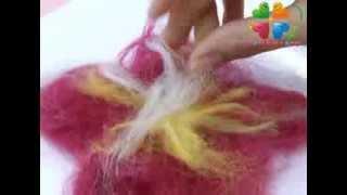 Валяние из шерсти  Как сделать цветок  украшение для одежды(, 2014-02-24T08:26:21.000Z)
