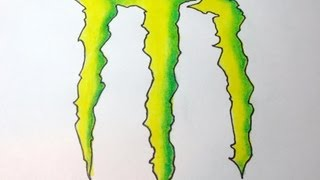 How To Draw Monster Energy Drink Logo
