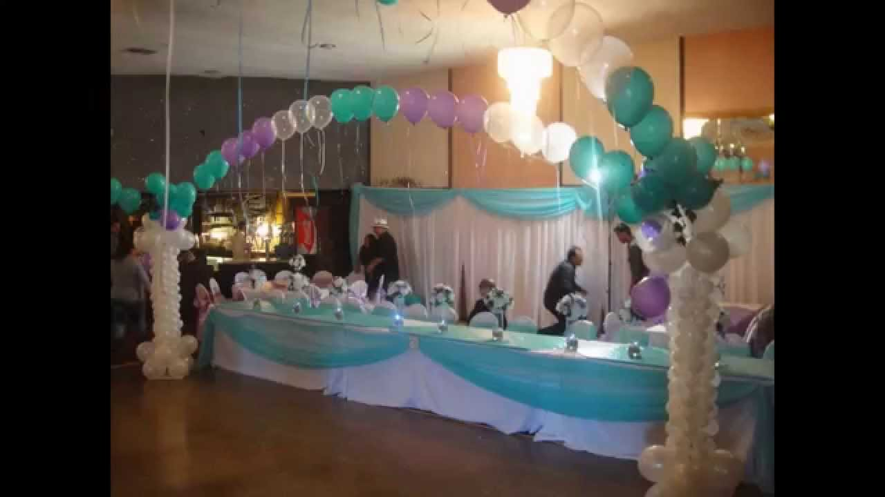 Quinceanera balloon decorations youtube for Balloon decoration ideas for quinceaneras