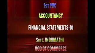 I PUC | Accountancy | Financial statements- 09