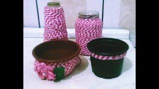 Vasos reciclados com barbante