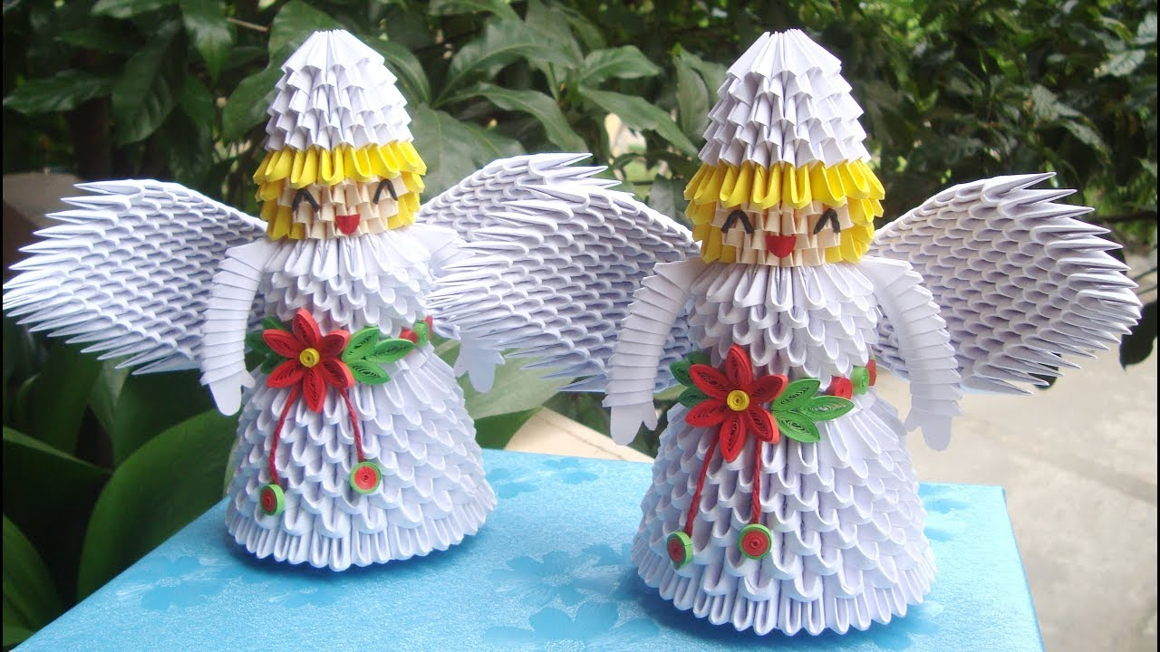 How To Make 3D Origami Christmas Angel