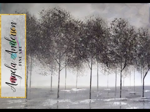 Black And White Trees Part 1 Beginner Acrylic Painting Easy